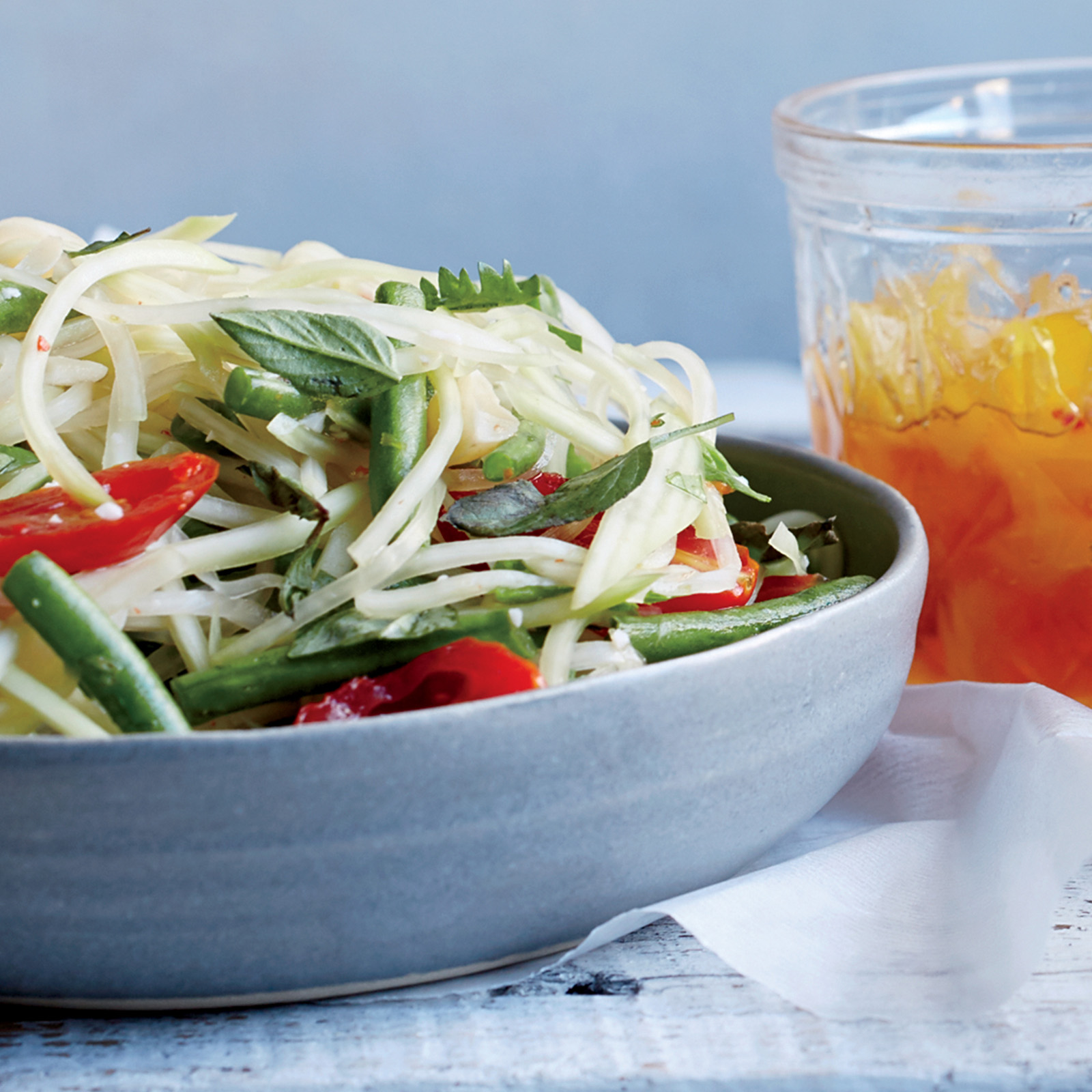 Green Papaya Salad with Tomatoes and Basil