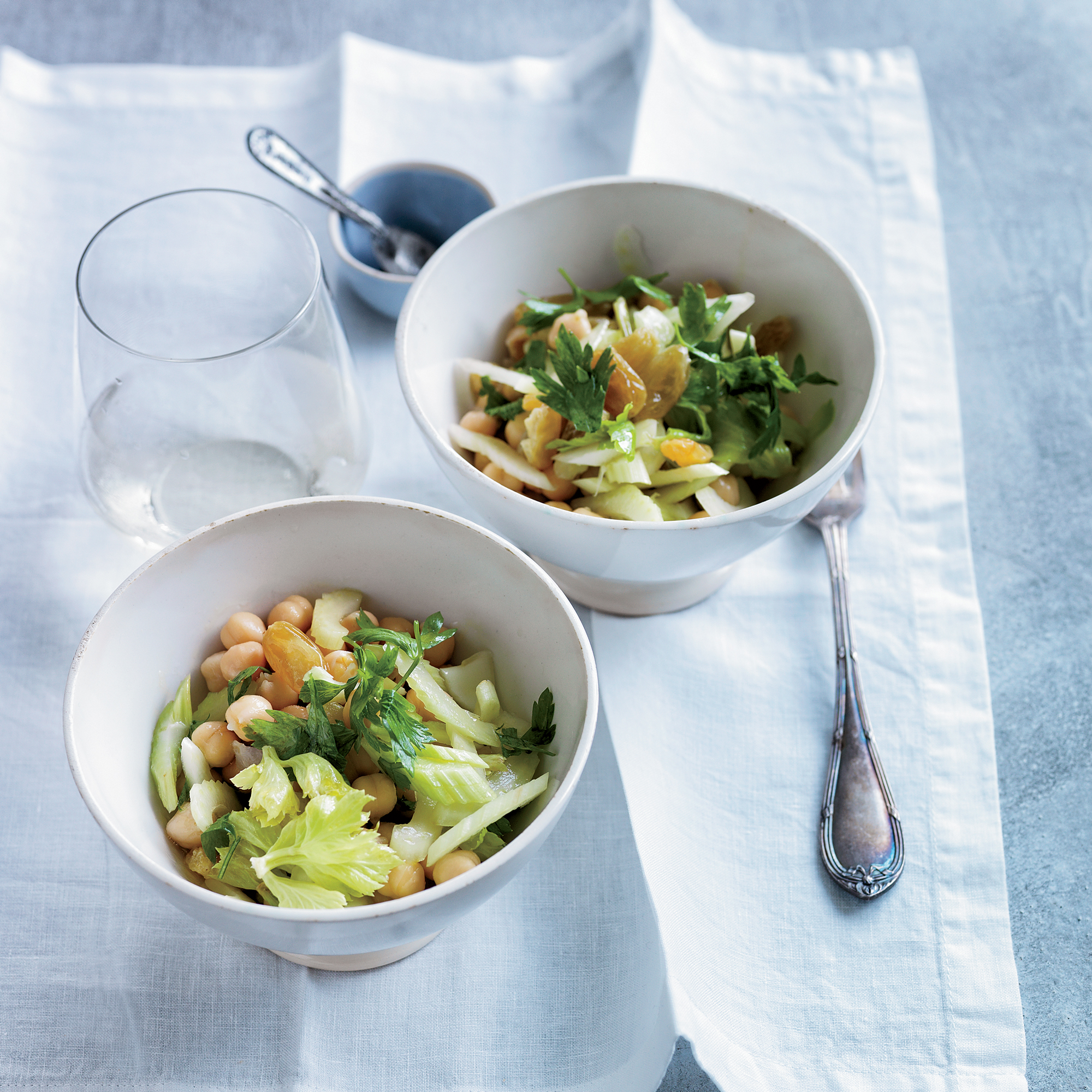 Chickpea Salad with Celery, Golden Raisins and Lemon