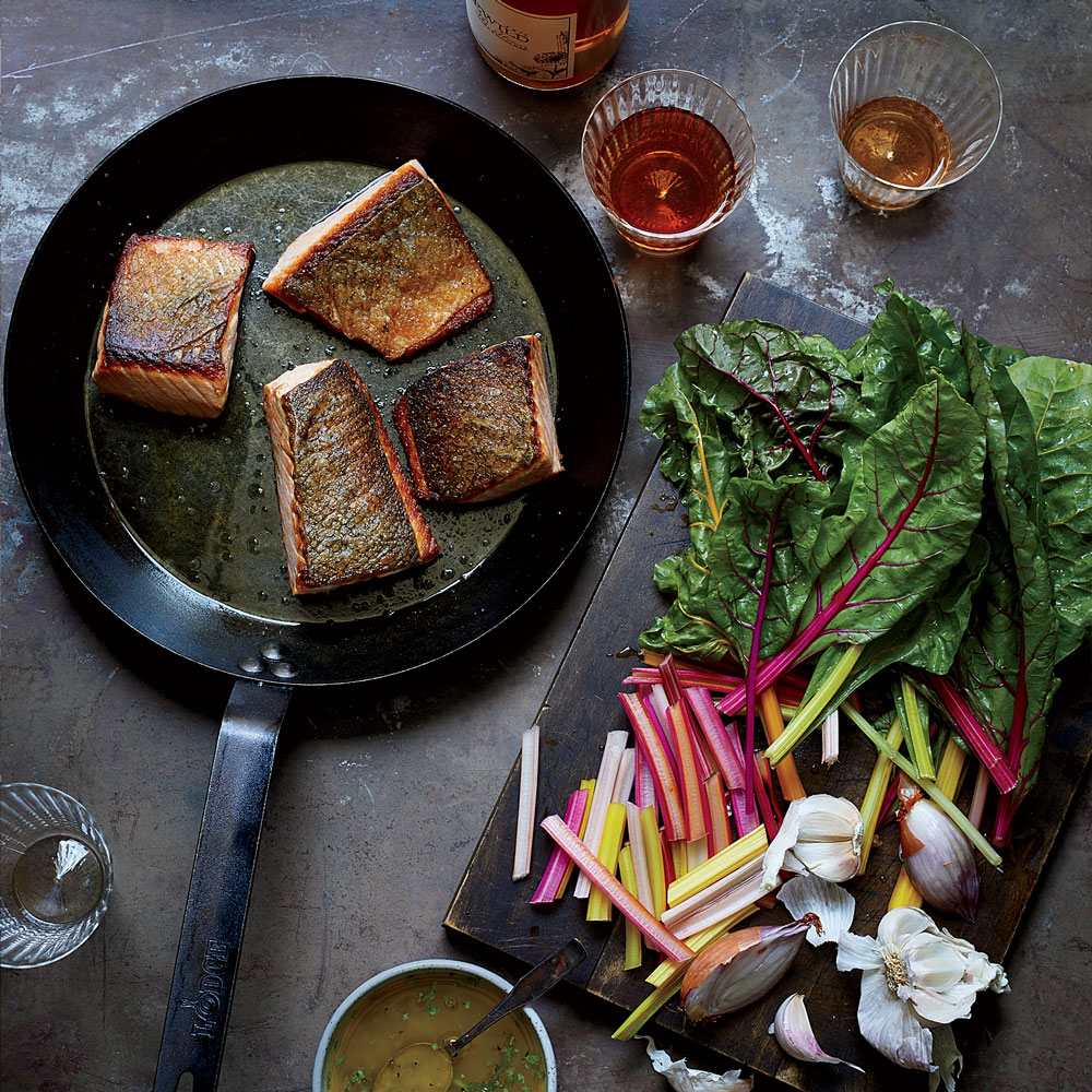 Crispy Salmon with Wilted Chard