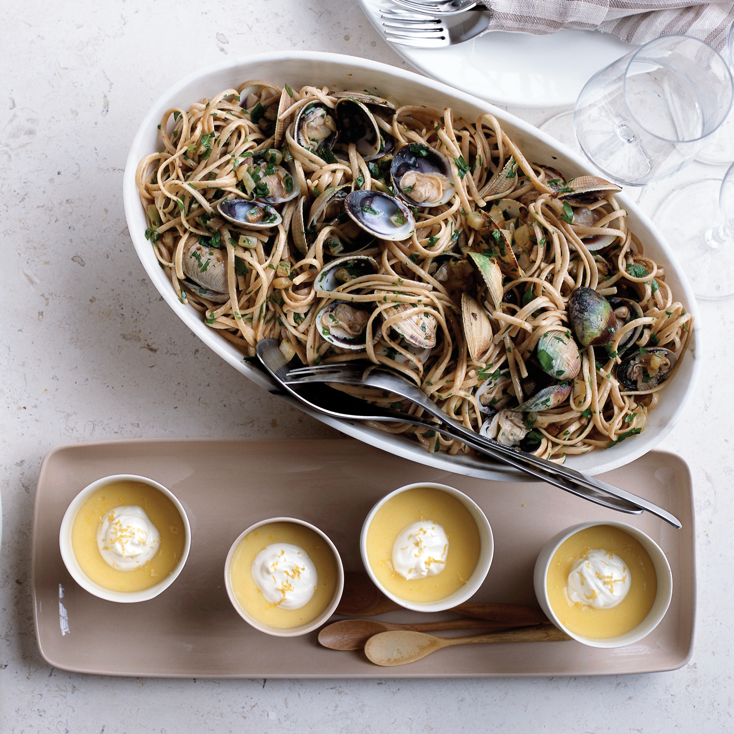 Whole Wheat Linguine with Manila Clams and Baby Fennel