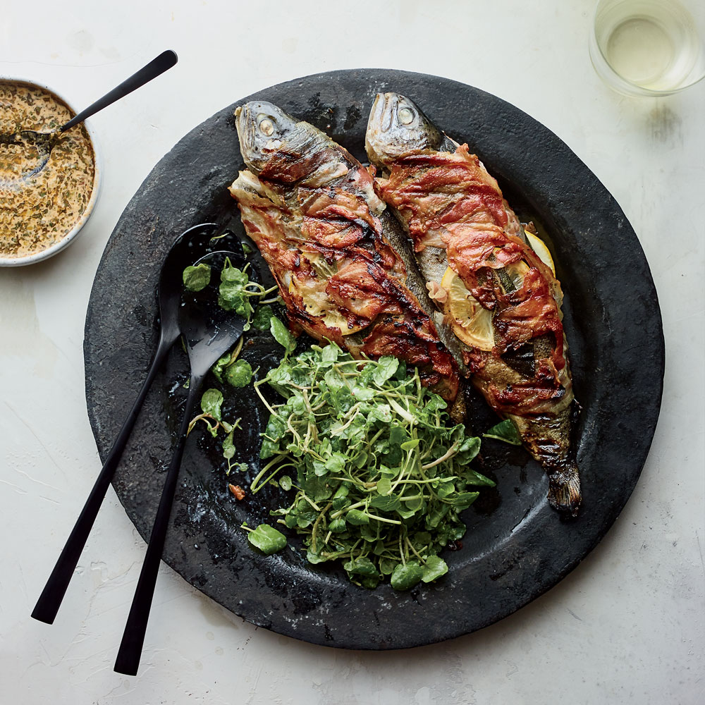 Pancetta-Wrapped Trout with Sage and Lemon