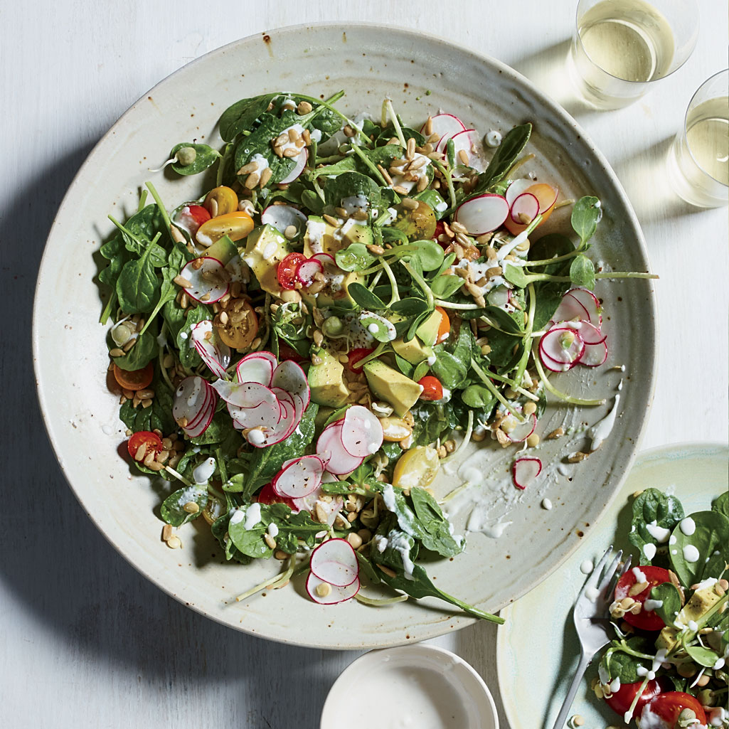 Spinach-Sprout Salad with Coconut Ranch