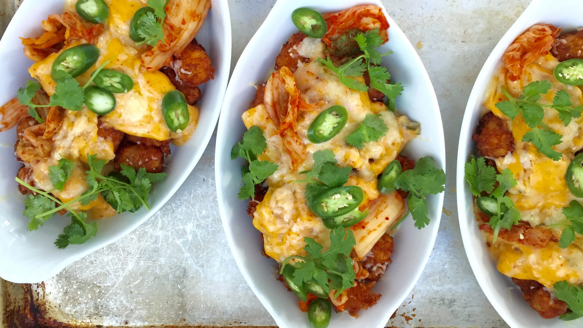 Tater Tot Nachos with Kimchi Cheese Sauce