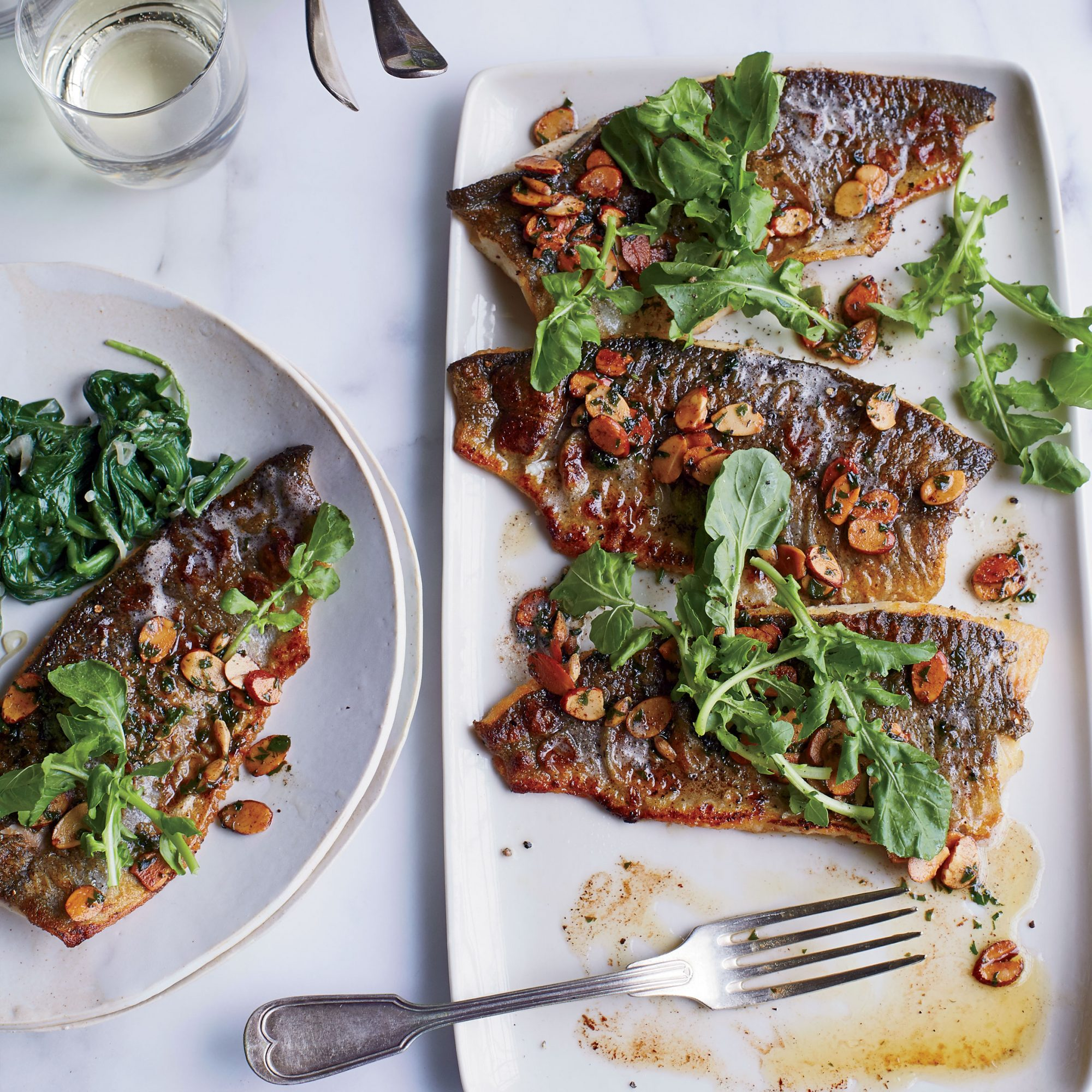 Trout Amandine With Creamy Spinach