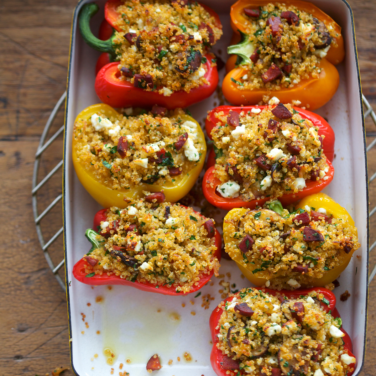 Stuffed Peppers with Quinoa, Chorizo and Mushrooms