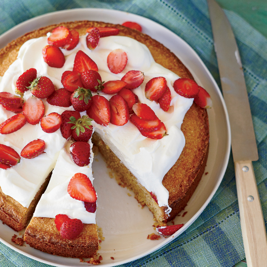 Cornmeal-Almond Cake with Strawberries and Mascarpone