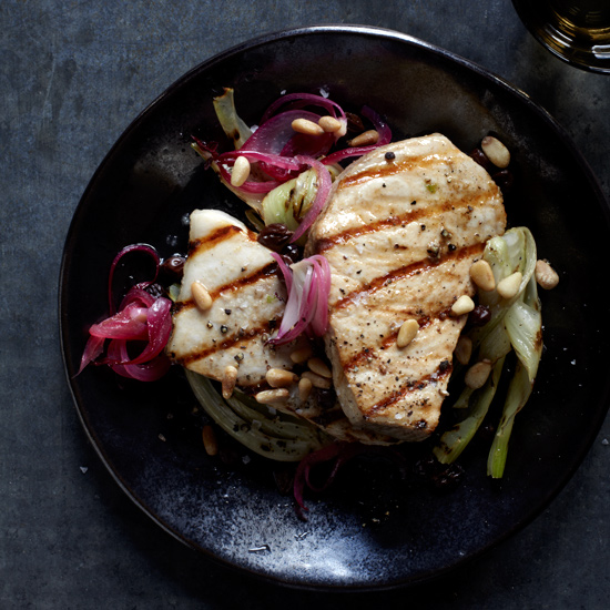 Grilled Swordfish with Tangy Onions & Fennel