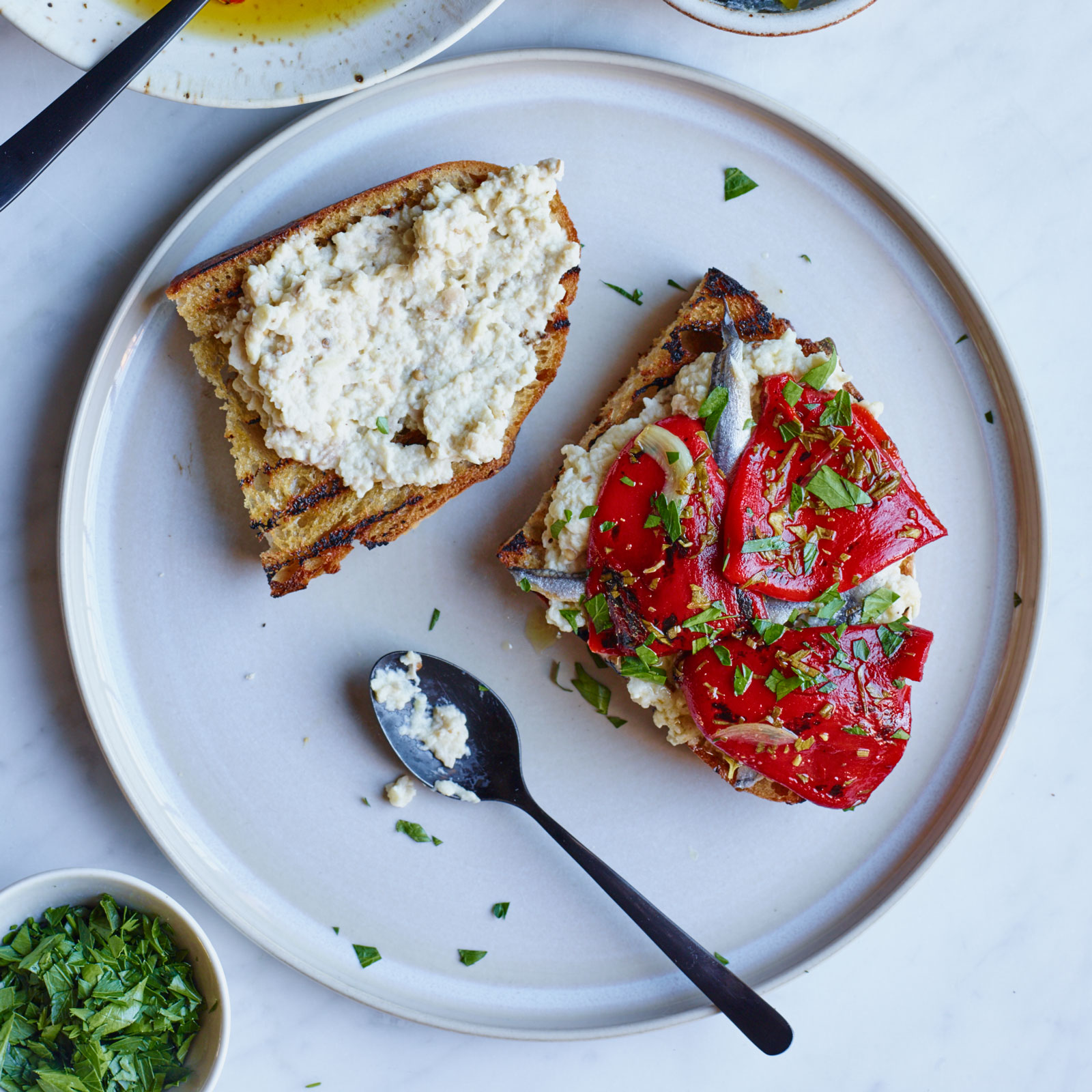 Marinated Piquillo Pepper and Whipped Eggplant Toasts