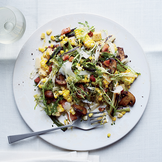 Sweet Corn Salad with Pancetta and Mushrooms