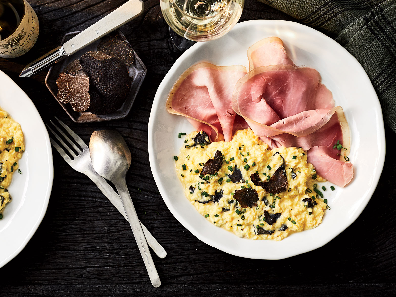 Soft Scrambled Eggs with Ham and Truffles Recipe