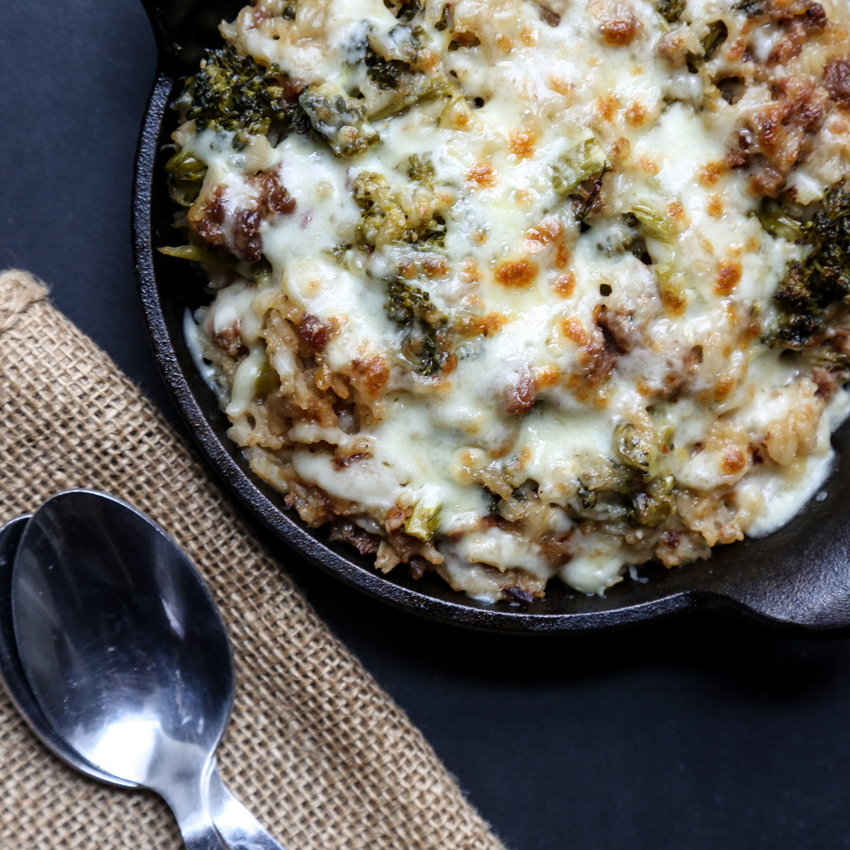 Cheesy Broccoli Rice Casserole with Sausage