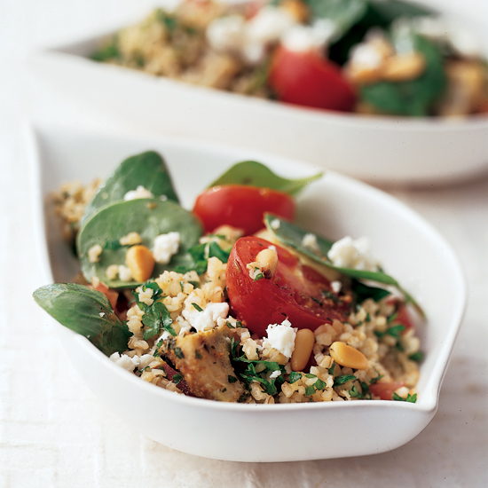 Tabbouleh with Marinated Artichokes and Baby Spinach