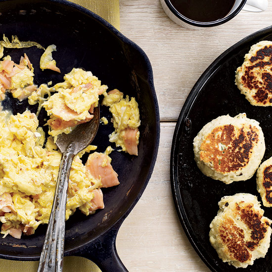 Smoked-Salmon Scramble with Dill Griddle Biscuits