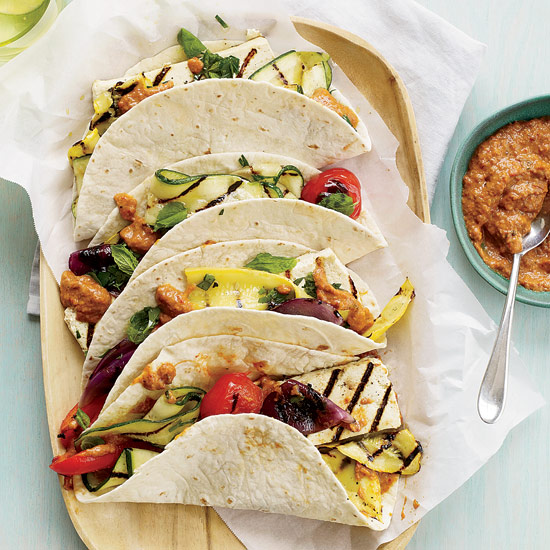 Tofu-and-Vegetable Tacos with Eggplant-Ancho Spread