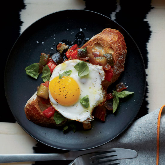 Ratatouille Toasts with Fried Eggs