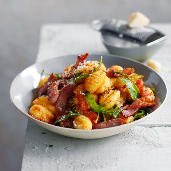Cavatelli with Bacon and Arugula