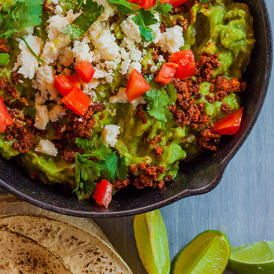 Guacamole with Chorizo and Queso Fresco