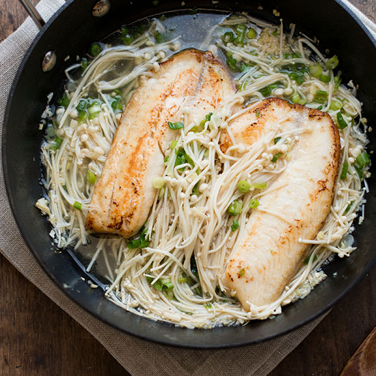 Sake Glazed Tilapia with Enoki Mushrooms