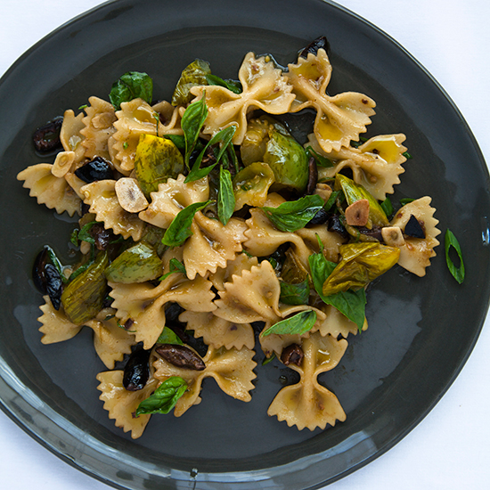 Farfalle with Green Tomatoes, Black Olives and Basil