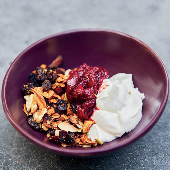 Nutty Granola with Strawberry Compote and Greek Yogurt
