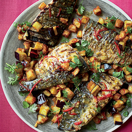 Glazed Mackerel with Fried Eggplant and Mojo