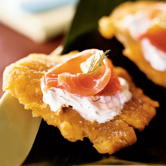 Tostones with Smoked Salmon