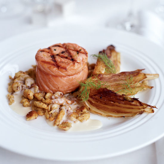 Grilled Salmon with Fennel and Creole Mustard Spaetzle