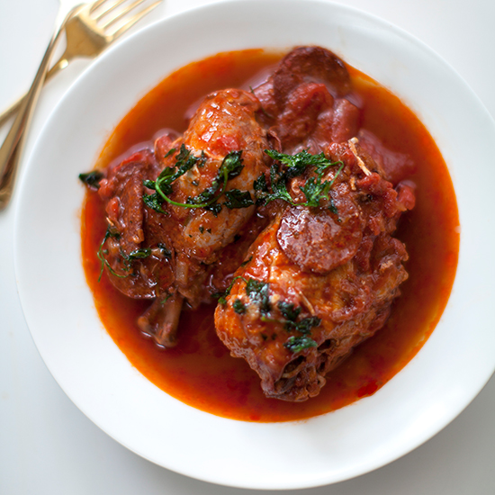 Pepperoni-Braised Chicken with Fried Herbs