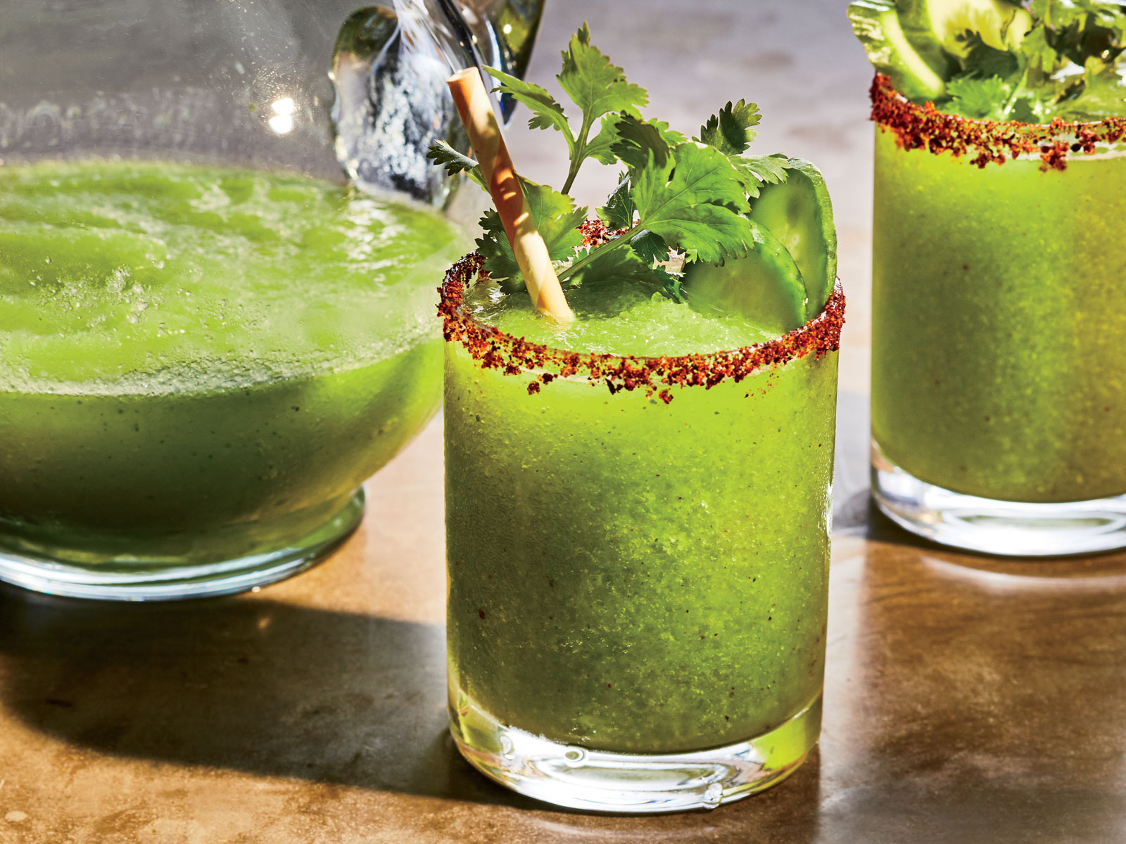 Frozen Cucumber Margaritas with Chili-Sumac Salt