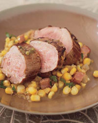 Glazed Pork Tenderloin with Cumin-Spiked Corn Puree