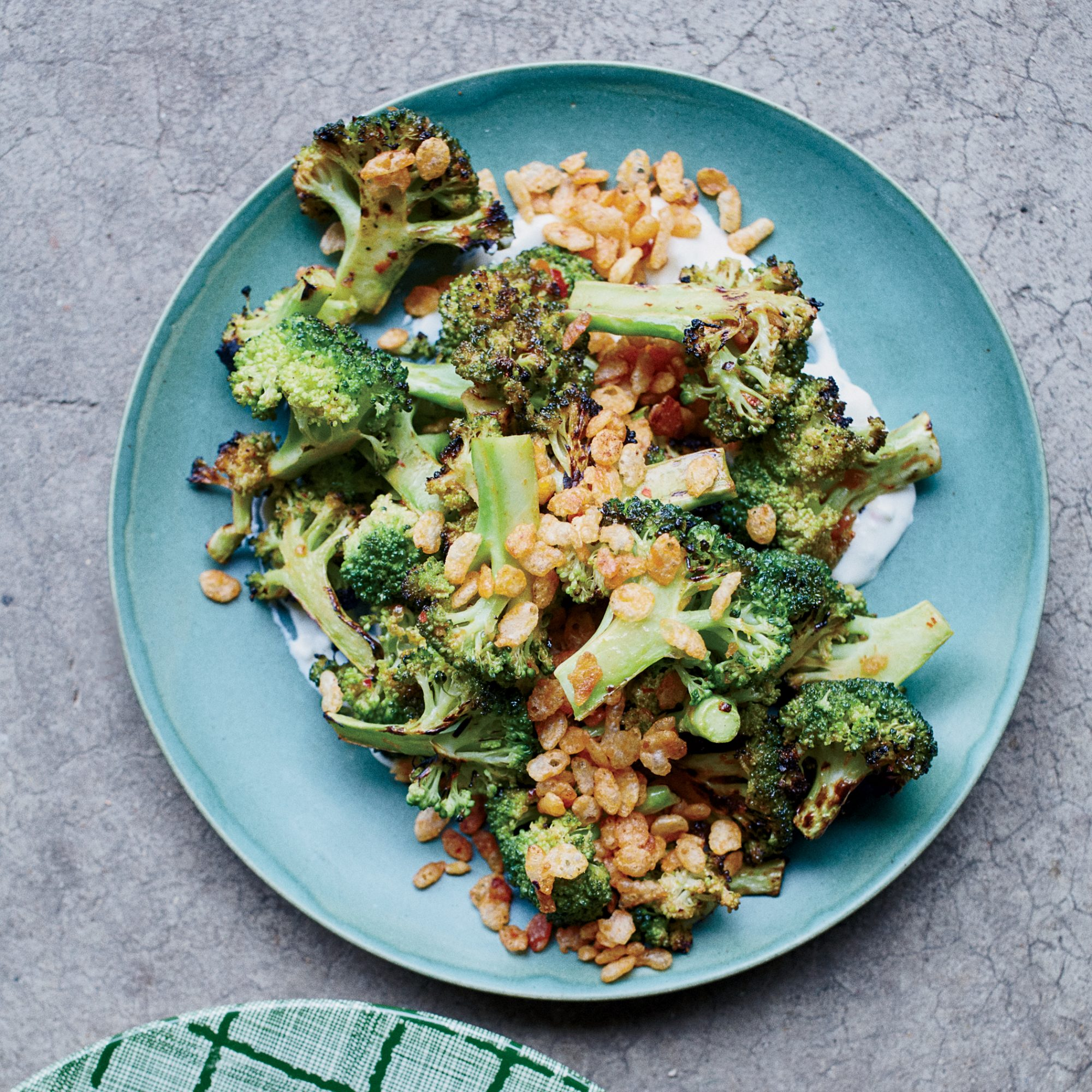 Charred Broccoli with Blue Cheese Dressing and Spiced Crispies