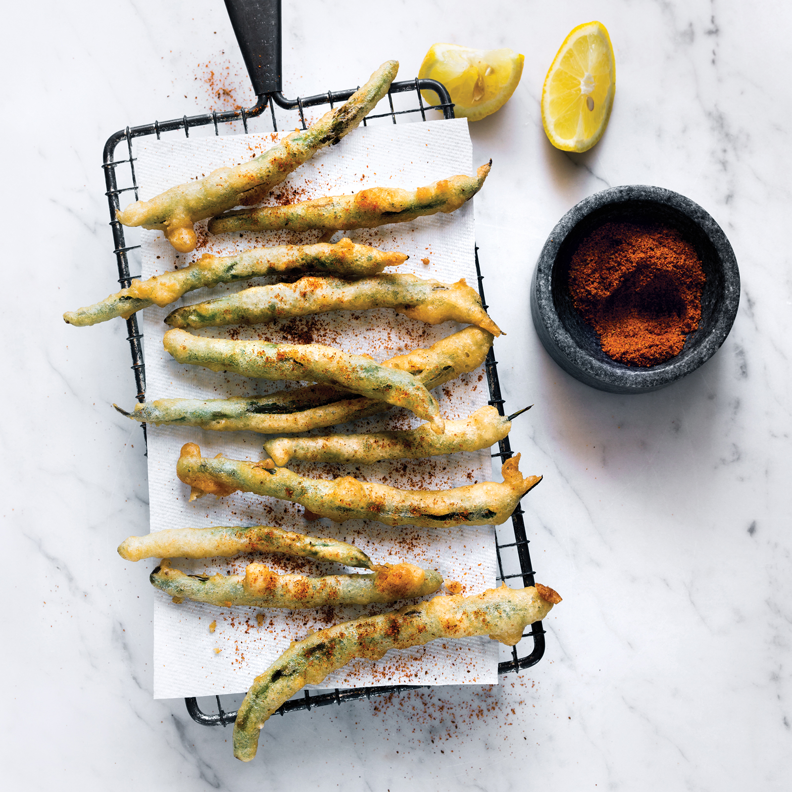 Tempura Green Beans with Old Bay and Lemon