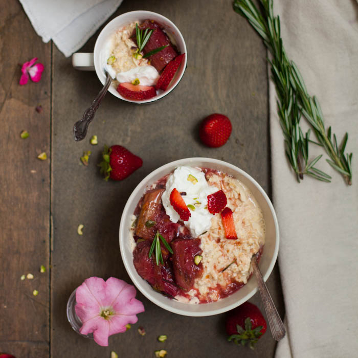 Rhubarb and Rosemary Overnight Oats