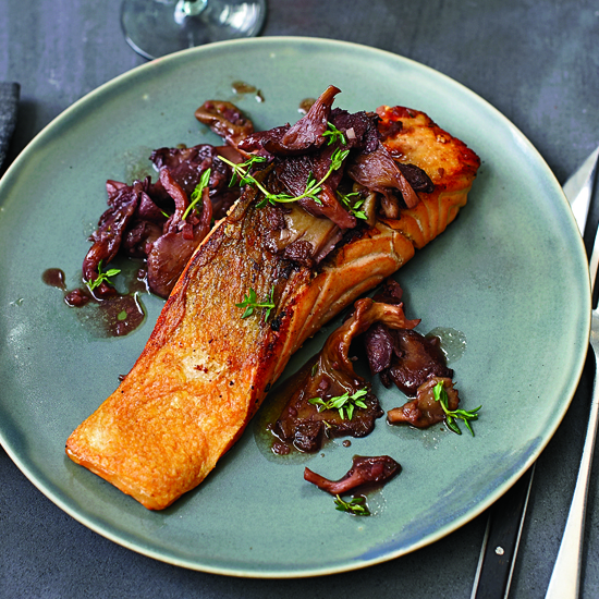 Roasted Salmon with Oyster Mushrooms in Red Wine