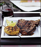 Grilled Texas T-Bone Steaks with Charred Onion Rings