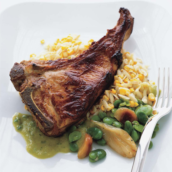 Roasted Veal Chops with Young Garlic Vinaigrette