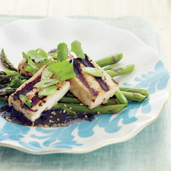 Grilled Tofu with Asparagus and Nori Vinaigrette