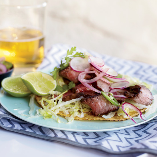 Grilled T-Bone Tostadas with Spicy Radish Salad