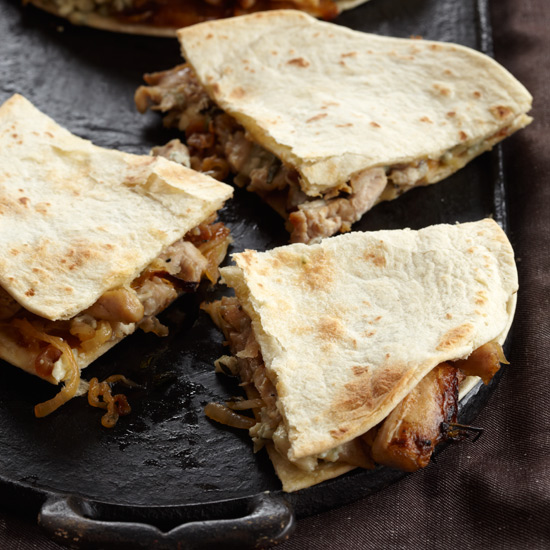 Chicken Quesadillas with Blue Cheese and Caramelized Onions