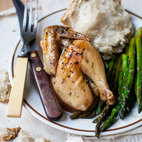 Peppered Cornish Hens and Asparagus with Lemon and Marjoram