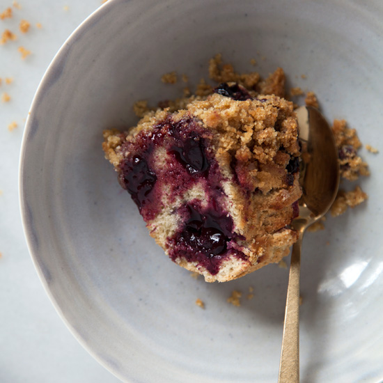 Cherry, Vanilla and Olive Oil Buckle Bundt with Almond Streusel