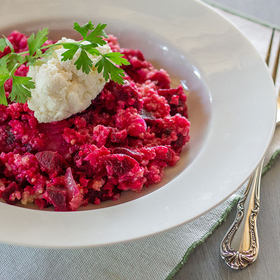 "Millet ""Risotto"" with Beets and Ricotta"