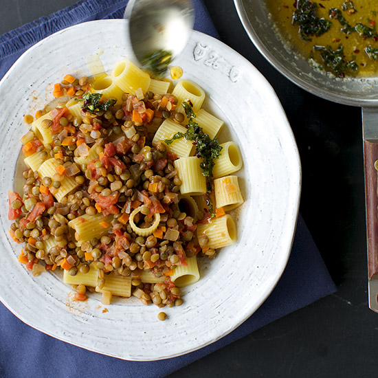 Vegetarian Lentil Bolognese with Spicy Mint Butter