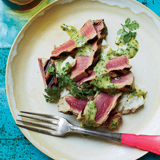 Tuna Steaks with Mustard Dressing and Mashed Taro