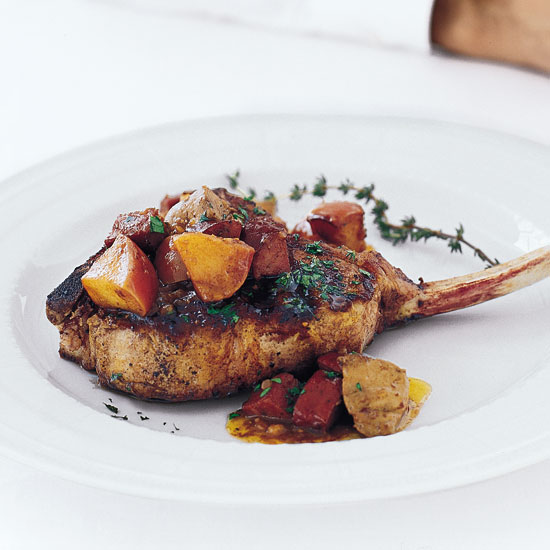 Cizma's Grilled Veal Chop with Tasso, Foie Gras and Sorrel