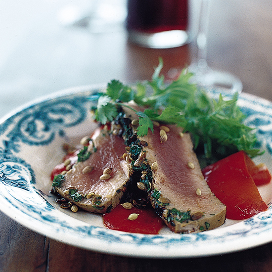 Grilled Tuna with Coriander Seeds and Cilantro