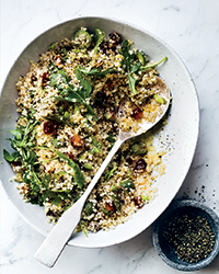Quinoa Pilaf with Dates, Olives and Arugula