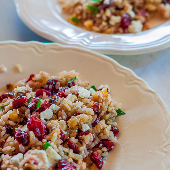 Brown Rice Salad with Cranberries, Walnuts, Mint, and Feta