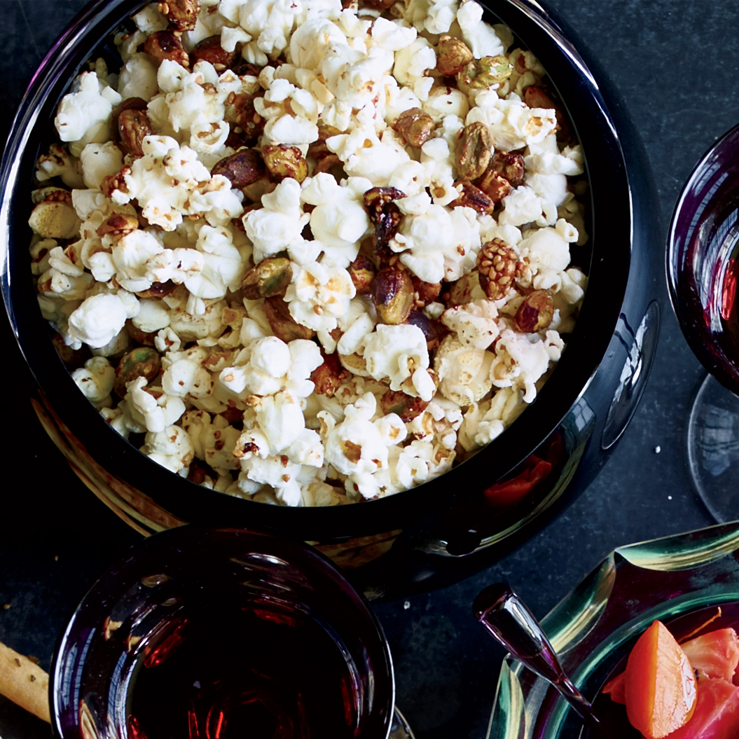 Popcorn with Sesame-Glazed Pistachios