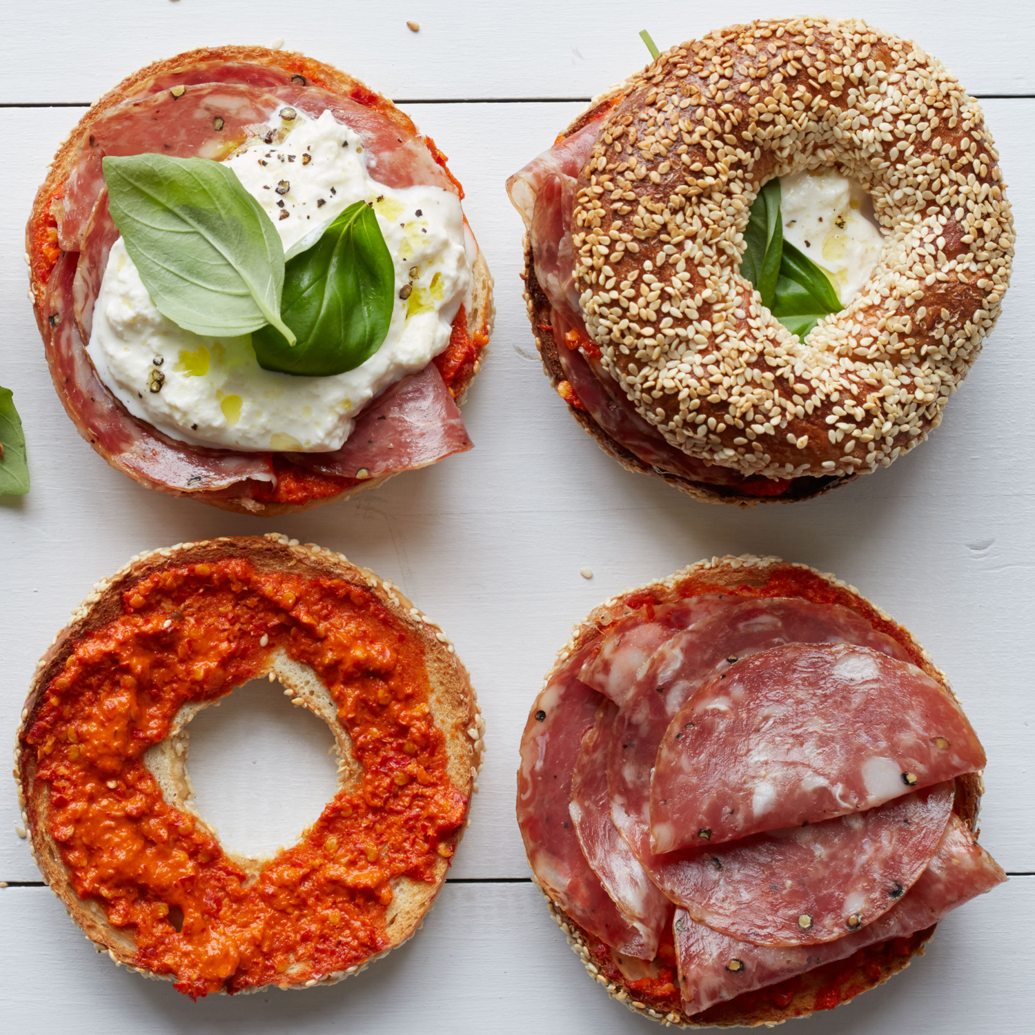 Sesame Bagels with Soppressata and Burrata